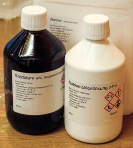 CDS-3000-Selbstbau: Hauptzutaten: 4% HCl, 25% NaClO2, demineralisiertes Wasser