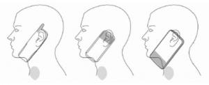 Platzierung von Antennen in Mobiltelefonen (über die verschiedenen Typen) im Verhältnis zur Schilddrüse.