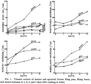 Vitaminentwicklung in verschiedenen Bohnenkeimen