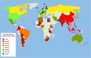 Globale Calcium-Zufuhr als Karte