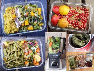 Verschiedene Sachen die ich esse: z.B. Müsli, zwei verschiedene Abendessen, einen grünen Smoothie und Brokkolisprossen