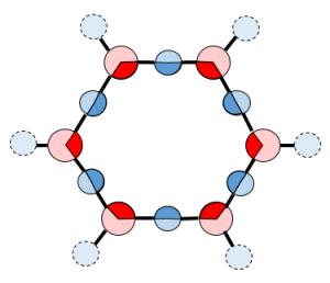 EZ-Honeycomb Struktur. Ladung: (6*1/2 H) + (6*1/3 O) = -1 Elektr.)