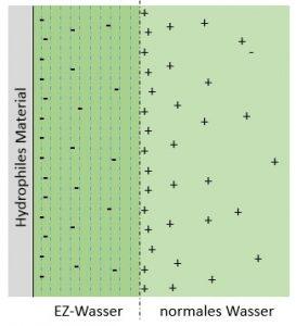 Bildung von EZ-Wasser an hydrophilen Oberflächen.
