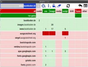 uMatrix Einstellungen für eine Webseite