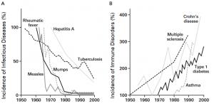 Inverse Beziehung zwischen der Inzidenz prototypischer Infektionskrankheiten (Panel A) und der Inzidenz von Immunstörungen (Panel B) von 1950 bis 2000