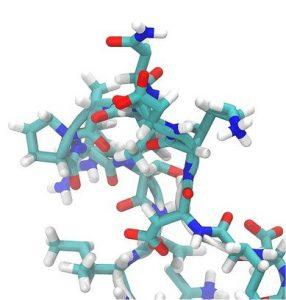 Beispiel für eine räumliche Konfiguration eines Enzyms / Moleküls.